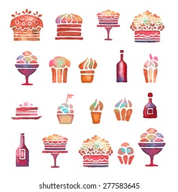 Watercolor hand drawn icons sketch set. Cakes, cupcake, pie, ice cream, cake stand, bottle of wine isolated on white background