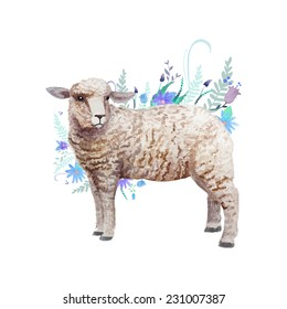 Watercolor hand drawn lamb with floral background. Vector vintage illustration