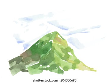 watercolor hand drawn mountain vector illustration