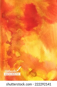 Watercolor hand drawn orange fire background. Abstract vector hand-drawn watercolor background. Colorful template. There is blank place for your text. EPS 10.