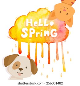 Watercolor hand drawn orange raining cloud with happy cat and dog and text hello spring  isolated on white. Vector illustration