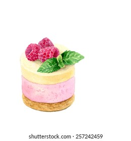 Watercolor Hand Drawn Raspberry Cupcake. Vector Illustration