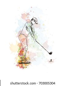 Watercolor hand drawn sketch of Golf player playing golf in vector illustration.