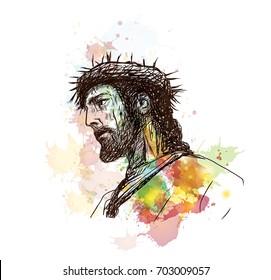 Watercolor hand drawn sketch of Jesus in vector illustration.