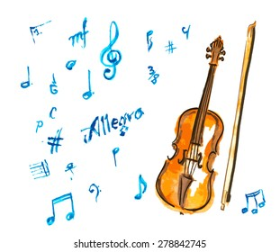 watercolor hand drawn violin and musical notes