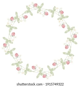 watercolor hand drawn wild strawberry wreath frame digital painting