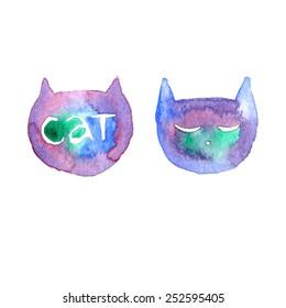 Watercolor hand painted isolated cats. Vector Illustration