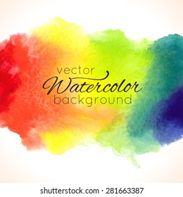 Watercolor hand painted rainbow background. Template for your design. Vector illustration