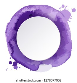 Watercolor hand painted round shapes and circular place for text inside. Perfect for card, banner, template, decoration, print, cover, web, element design. Vector illustration.