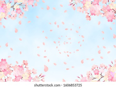 Watercolor hand painted wind cherry blossom and sky background illustration