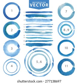 Watercolor hand painting stain circle,line brushes set.Summer blue,cyan color.Watercolor brush design template.Vintage blur vector,summer background.Holiday,vacation artistic texture,water stamp,frame