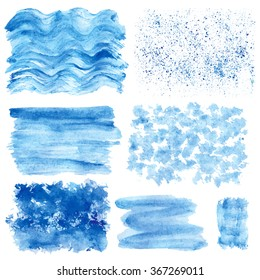 Watercolor hand painting textures.Blue vector Stains,spot drops,splashes set. Cyan,color.Summer design template.Vintage blur vector,summer background.Holiday,vacation artistic texture,sea ,water,sky