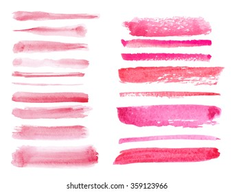 Watercolor hand painting textures.Pink Brushes,line splashes set.Sweet colors design template.Vintage blur isolated vector,wedding romantic background.Artistic shapes.Love decor,wedding,Valentine day