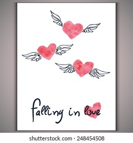 Watercolor hand-drawn red hearts with wings and inscription falling in love on white background Vector eps 10
