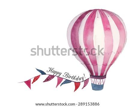 Watercolor Happy Birthday Baby Card Air Stock Vector Royalty Free