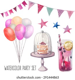 Watercolor Happy birthday party set. Hand drawn vintage celebration objects: lemonade glass, air balloons, flags garland, naked cake, stars. Vector design elements