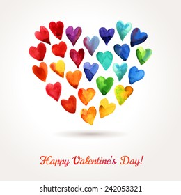 Watercolor Happy Valentines Day Rainbow Hearts Cloud. Vector Design.