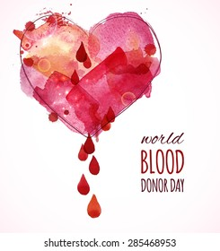 Watercolor heart with blood drops. Blood donor day concept . Vector illustration