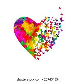 Watercolor heart with butterflies. Vector