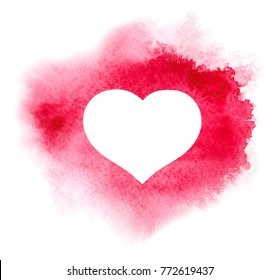 Watercolor heart on red watercolor background with paint splaches and brush strokes. Card for Valentine day. Vector