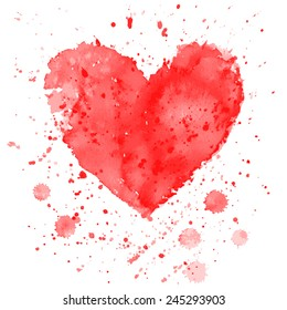 Watercolor heart on white background. Vector illustration for invitation or greeting card