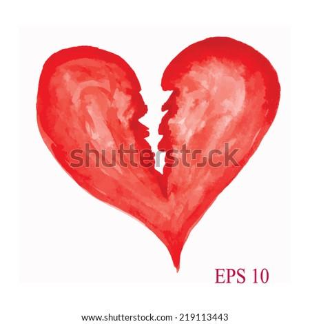 Watercolor Heart Symbol Broken Heart Handdrawn Stock Vector Royalty