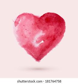Watercolor heart, vector illustration