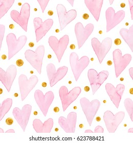 Watercolor hearts seamless background. Pink watercolor heart pattern. Romantic texture with golden dots.
