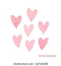 Watercolor hearts. Vector illustration