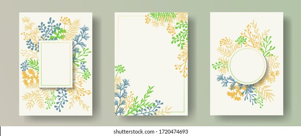 Watercolor herb twigs, tree branches, flowers floral invitation cards set. Bouquet wreath creative invitation cards with dandelion flowers, fern, lichen, olive tree leaves, sage twigs.