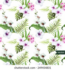 watercolor, hibiscus, orchid, white, palm, tropical, pattern,