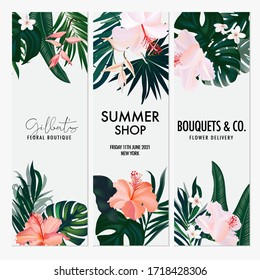 Watercolor Hibiscus tropical jungle vertical wedding invitation card, summer shop banner, boutique vacation illustration.  Botany design for wedding ceremony. Can be used for cosmetics, beauty salon.