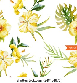 watercolor, hibiscus, yellow, palm, tropical, pattern