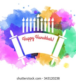 Watercolor holiday background. Happy Hanukkah. Israel festival of light. Vector illustration. Menorah and Torah.