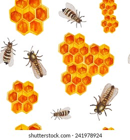 Watercolor honey seamless pattern. Hand drawn texture with honeycomb and bees in vector