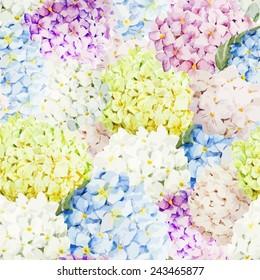 watercolor, hydrangea, wallpaper, flowers