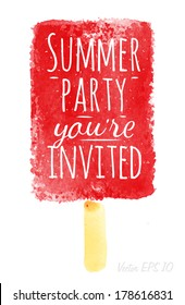 Watercolor ice cream poster lettering summer party you're invited drawing with red paint.