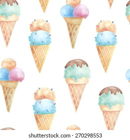 Watercolor ice cream seamless pattern