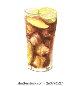 Watercolor ice tea cocktail