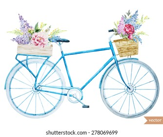 watercolor illustration of a bicycle with flowers, vector
