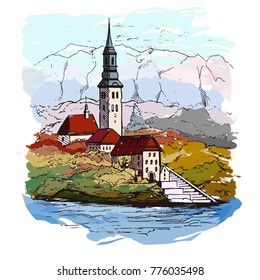 Watercolor illustration of Bled with lake, island, castle and mountains in background, Slovenia, Europe.City with houses and water, drawn in sketch style.Cityscape.