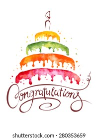 Watercolor illustration -- Cake and Congratulations