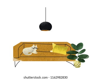 watercolor illustration of cat sitting on the sofa. interior design vector illustration. mid century modern style. textured hand drawn furniture  illustration.