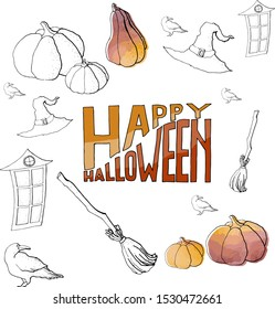 watercolor illustration halloween pattern of raven and lettering broom hat pumpkin elements with watercolor affect. doodle