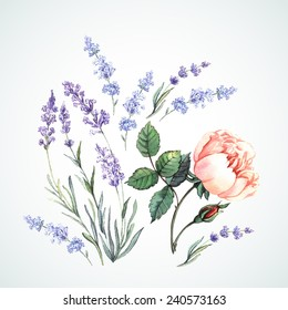 Watercolor illustration of lavender and rose. Hand painting. Can be used form of greeting cards, invitations and personalized card.