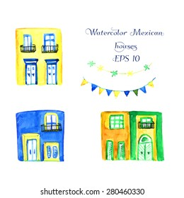 Watercolor illustration of mexican houses. Vector illustration. Decoration of garland for the party or fest.