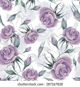 watercolor illustration. Seamless vector pattern. buds violet roses on a white background. hand-drawn.