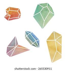 Watercolor illustration stones