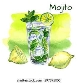 Watercolor illustration of summer cocktail MOJITO with line and mint leaves inside the glass. Vector illustration.