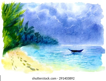 Watercolor illustration of a tropical beach. Dramatic cloudy sky and a boat in the sea. Thailand, Koh Phangan island. Footprints on the sand, palm trees and blue clear water. Vector edition.
